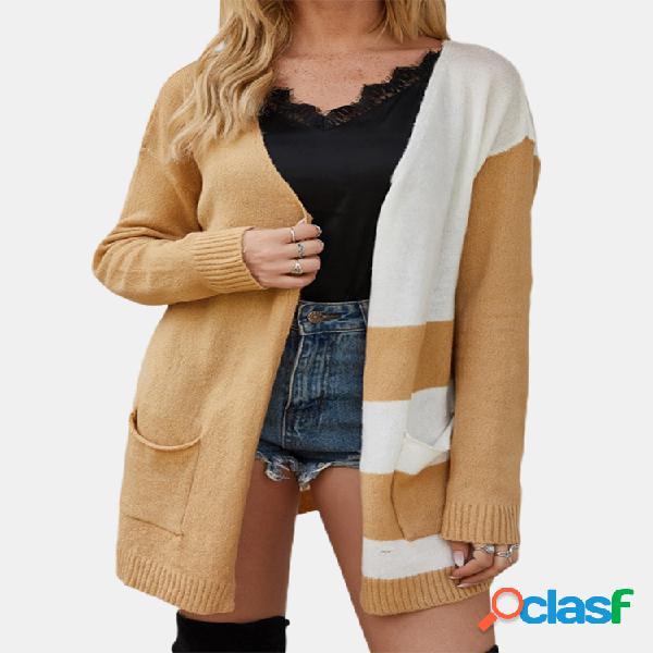 Casaco casual listrado cor contraste jaqueta malha cardigã