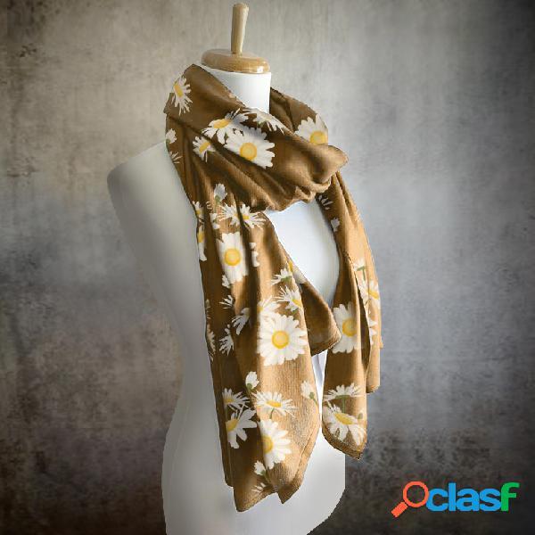 Impressão em cores sólidas femininas padrão lenço longo de linho lenço longo envoltório xale multifuncional elegante pescoço envoltório lenço quente