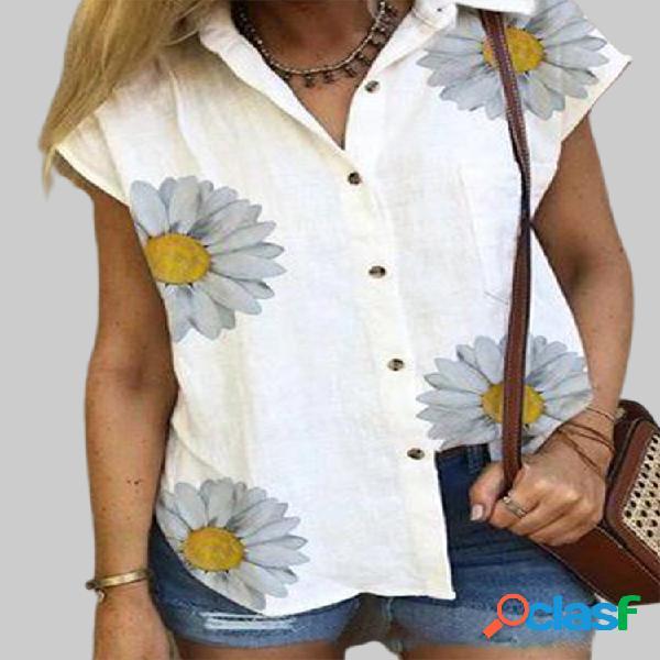 Manga curta com estampa de flores camisa para mulheres