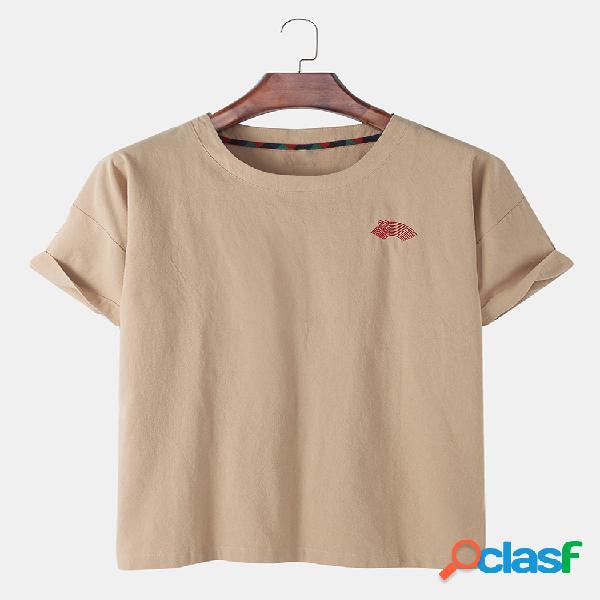 Mens estilo nacional bordado algodão linho em torno do pescoço de manga curta camisetas