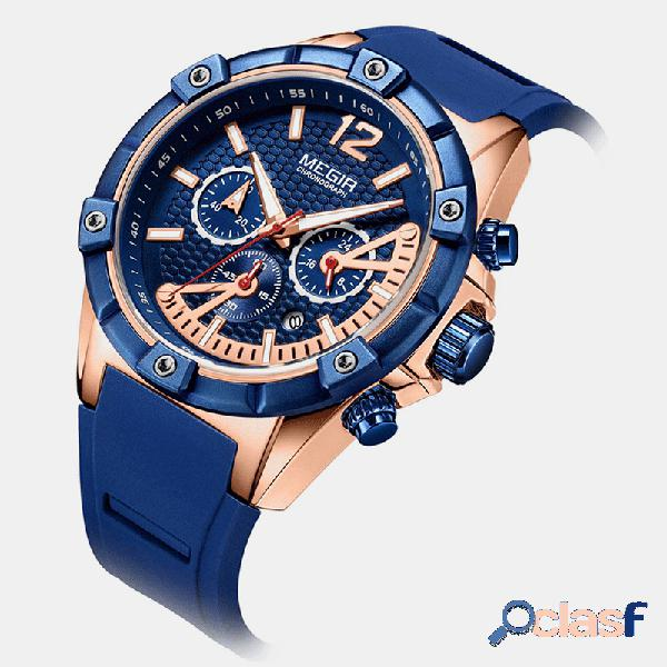 Relógio de lazer esportivo masculino silicone banda relógio de quartzo com mostrador luminoso e cronógrafo exclusivo