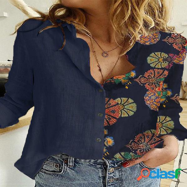 Botão de lapela em patchwork com estampa floral plus tamanho camisa