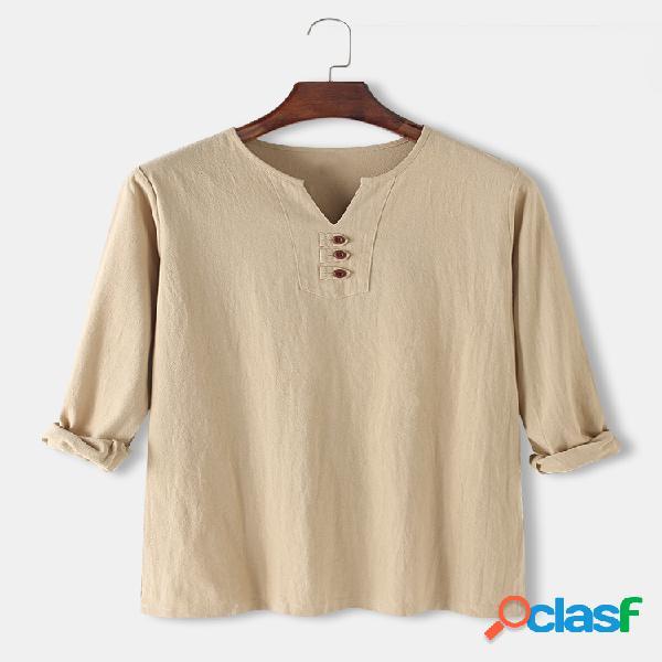 Camisas masculinas de linho de algodão de cor sólida com decote em v casual manga comprida camisas henley