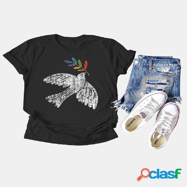 Camiseta casual de manga curta com estampa de pássaro