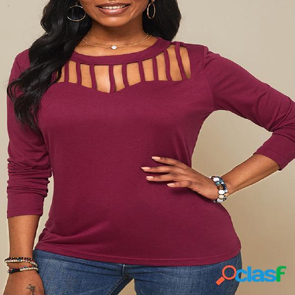Camiseta de cor sólida de manga comprida com decote em o oco para mulheres