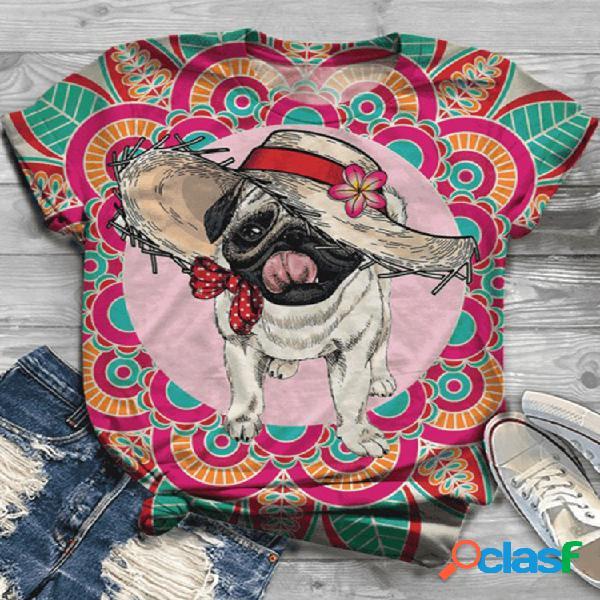 Desenhos animados cachorro t-shirt de manga curta impressa em o-pescoço