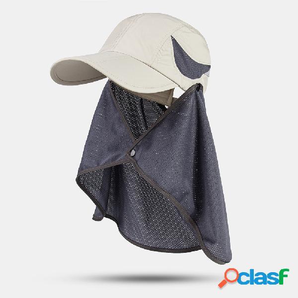 Protetor solar externo masculino de secagem rápida para pescoço uv proteção casual beisebol chapéu com capa de malha removível