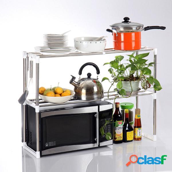 Suprimentos domésticos rack de armazenamento de cozinha forno de microondas suporte carrinho de armazenamento prateleira expansível 2 camadas