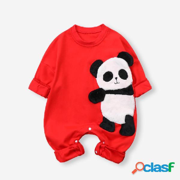 Baby 3d panda com impressão de mangas compridas com decote em o macacão casual para 3-18m