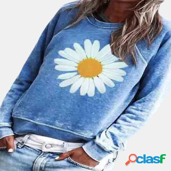 Blusa casual com estampa floral margarida manga comprida o-pescoço