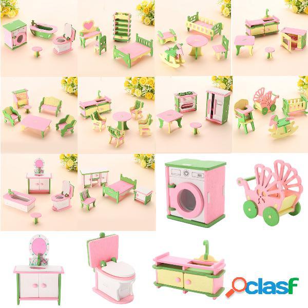 Conjunto de 10 móveis miniatura de madeira para crianças sala boneca casa brinquedo de fingir presente