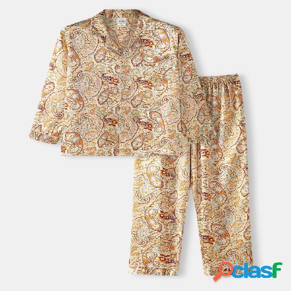 Conjuntos de pijamas de lapela de seda gelada com estampa floral amarela e pijama doméstico de manga comprida surf