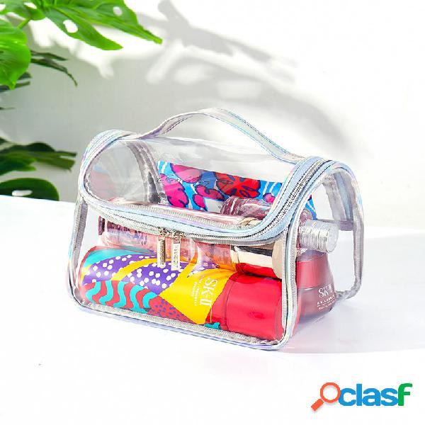 Pvc transparente à prova d'água de grande capacidade de lavagem bolsa banho bolsa cosmético portátil bolsa armazenamento de natação bolsa