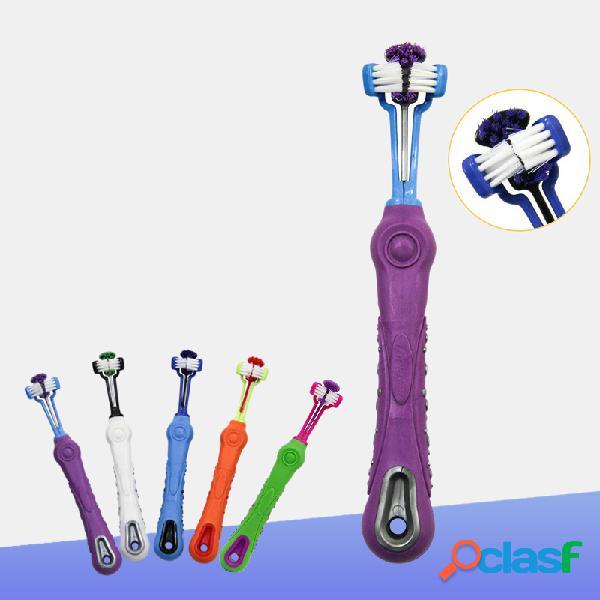 Suprimentos para animais de estimação escova de dentes para animais de estimação cachorro escova de dentes de três cabeças pet limpeza oral grande cachorro escova de dentes
