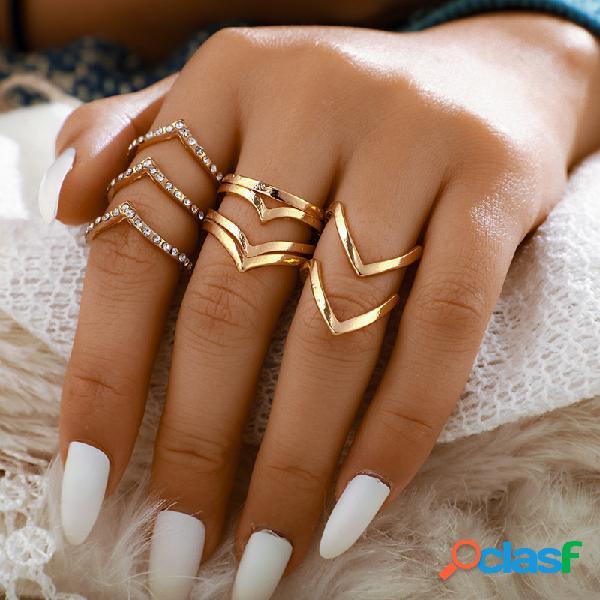5 pçs / set anel de ouro simples conjunto de strass em forma de v vintage montar mulheres anel kit de jóias