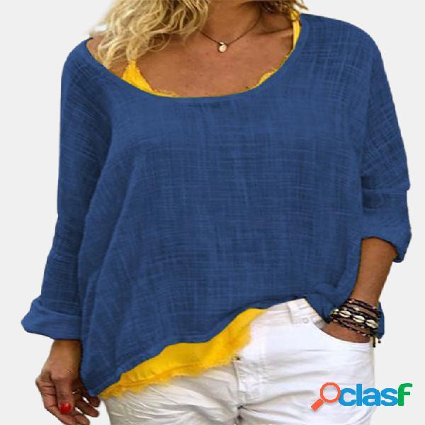 Blusa casual de manga comprida cor sólida com gola o solta para mulheres