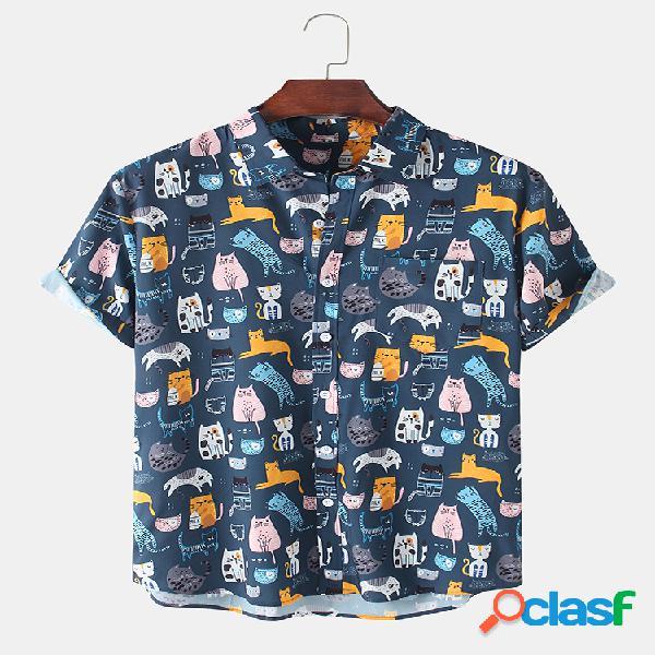 Camisas masculinas allover multicolorida de desenho animado gato com estampa casual leve lapela manga curta