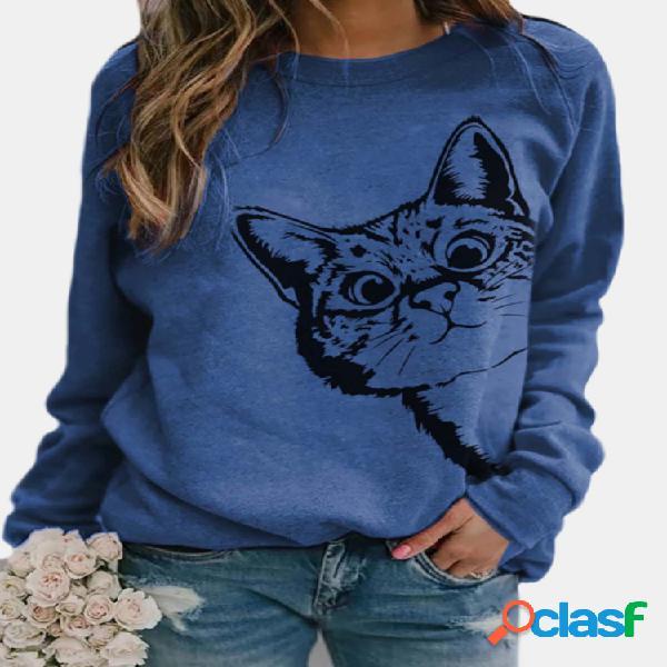 Cartoon cat estampa manga comprida com decote em o casual blusa feminina