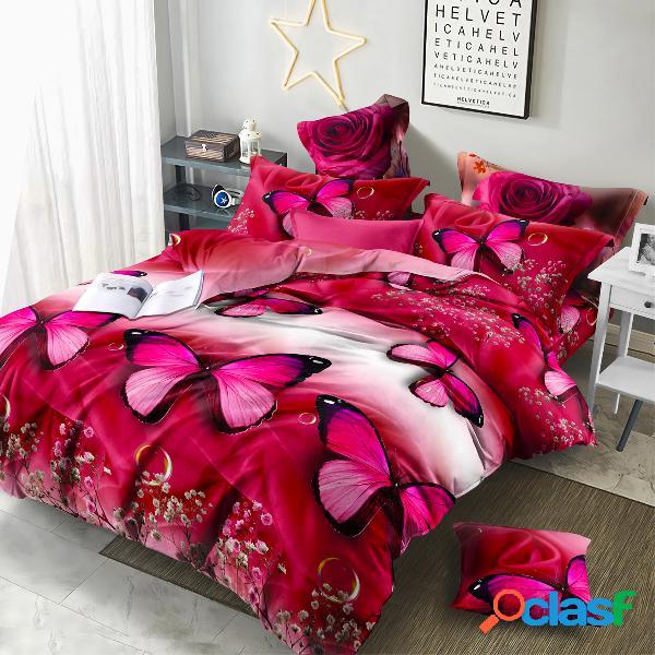 Conjunto de roupa de cama 3d de luxo folha de cama travesseiro de edredom caso impressão 3d flor rosa 2/3/4 unidades queen size twin size decoração têxtil para casa