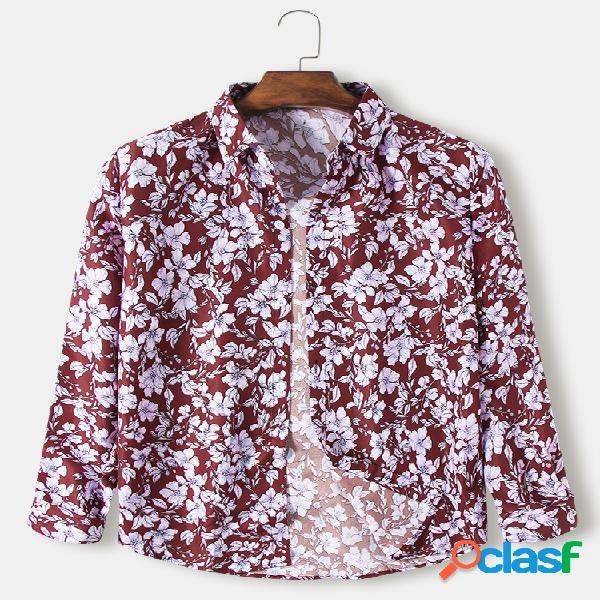 Mens allover estilo étnico floral & patter print casual fit camisas de manga comprida