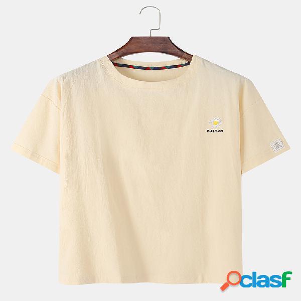 Mens daisy bordado algodão linho em torno do pescoço casual manga curta camisetas