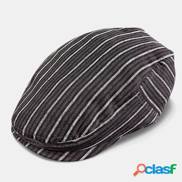 Protetor solar de linho masculino estilo britânico retrô verão listra padrão casual para a frente chapéu boina chapéu