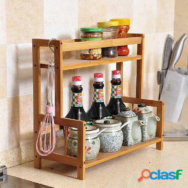 rack de cozinha multifuncional rack de temperos madeira maciça bamboo storage rack rack de armazenamento