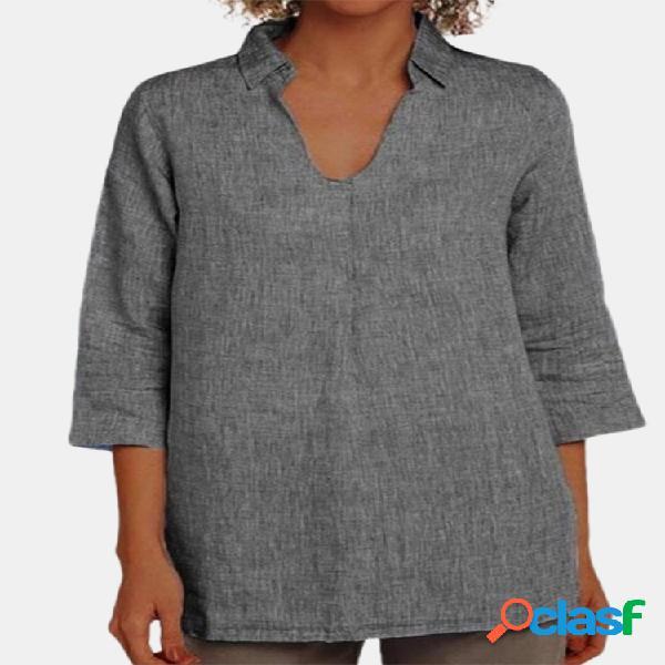 Blusa de gola abaixada cor sólida para mulheres