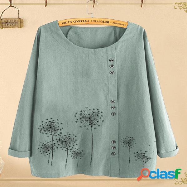 Blusa de manga comprida com estampa floral com decote em o
