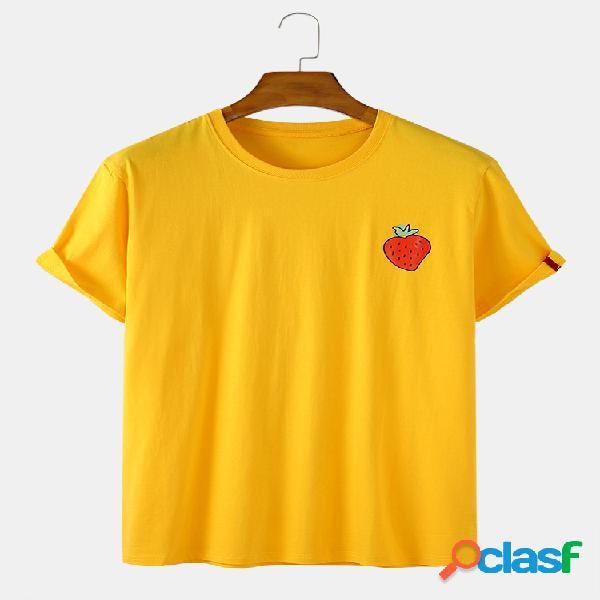 Mens cotton morango imprimir solid color casual loose o-neck t-shirts