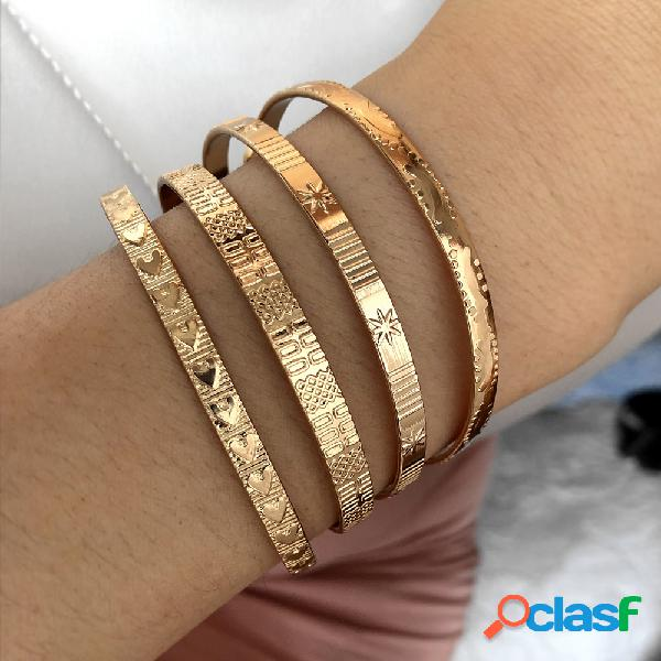 4 pcs bangle set trendy abertura de ouro criativo coração star moon design mulheres pulseira jóias