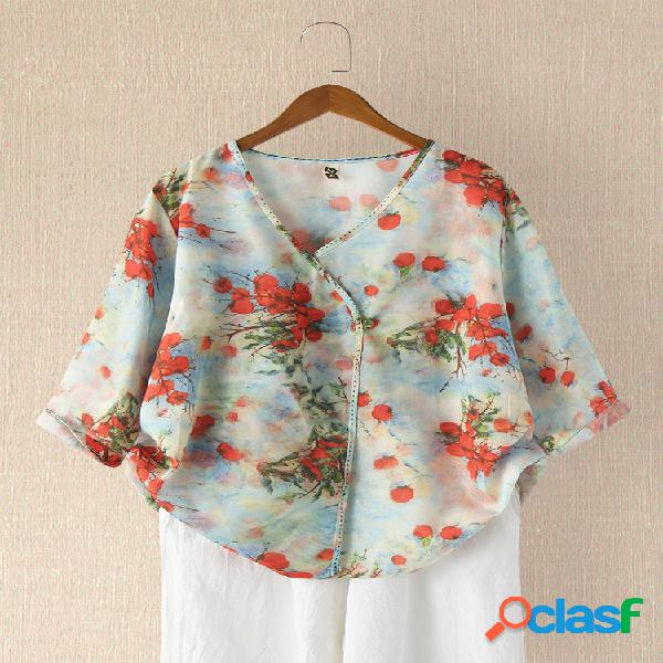 Blusa casual feminina com estampa de flores vintage com decote em v