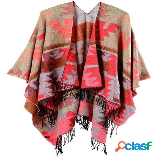 Étnica impressão borla irregular shawl cardigan para mulheres