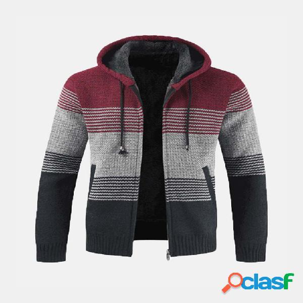 Mens thick velvet fleece thermal knitting sweatshirt com capuz de correspondência de cores