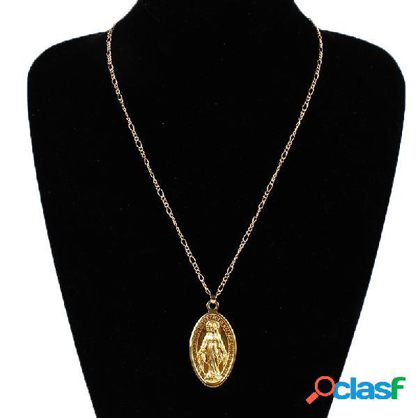 Pingente vintage colar oval padrão de deusa pingente de colar de jóias étnicas para as mulheres