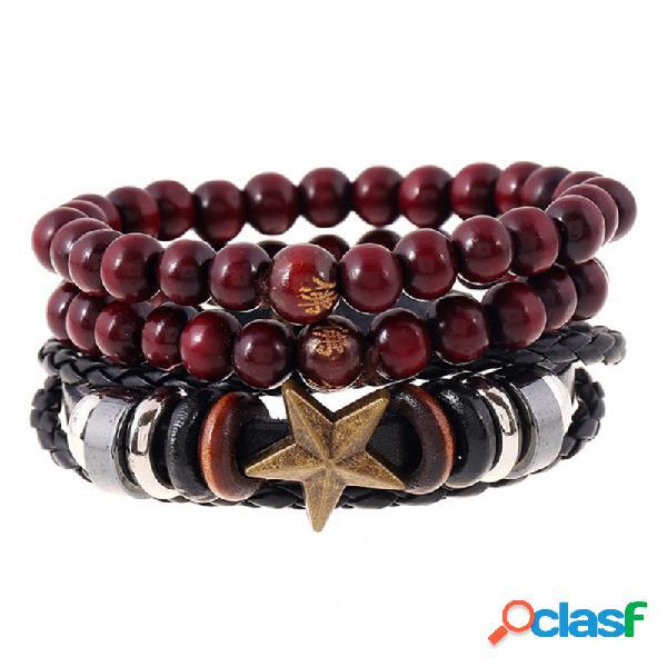 Punk 3 pcs multicamadas pulseira de estrela de couro trança talão pulseira ajustável jóias étnicas para as mulheres