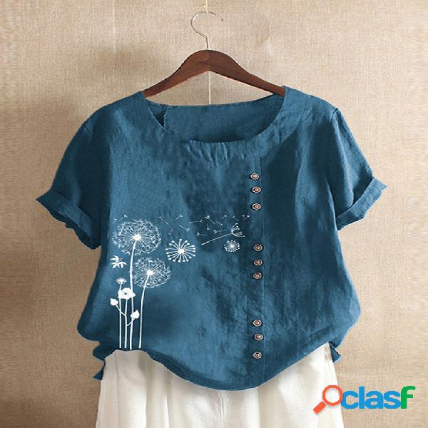 T-shirt de botão de manga curta com decote em o floral vintage
