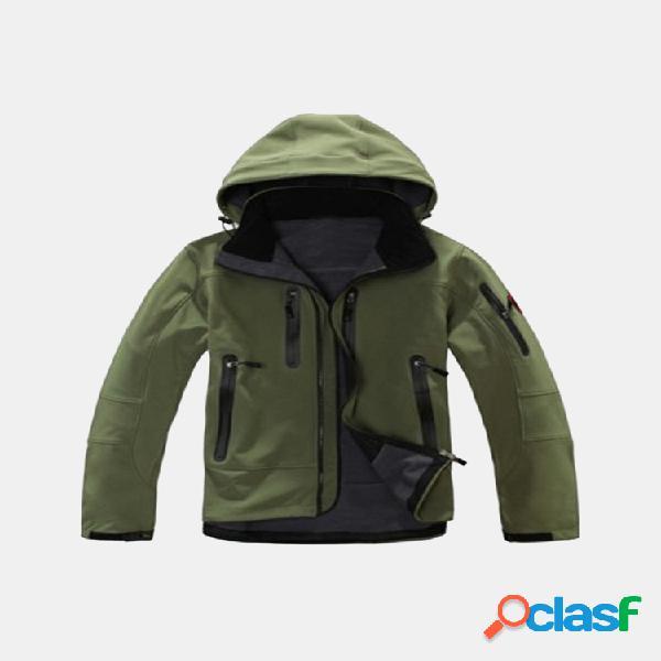 Ao ar livre dos homens soft casacos com capuz forro de lã com capuz jaquetas impermeáveis para caminhadas