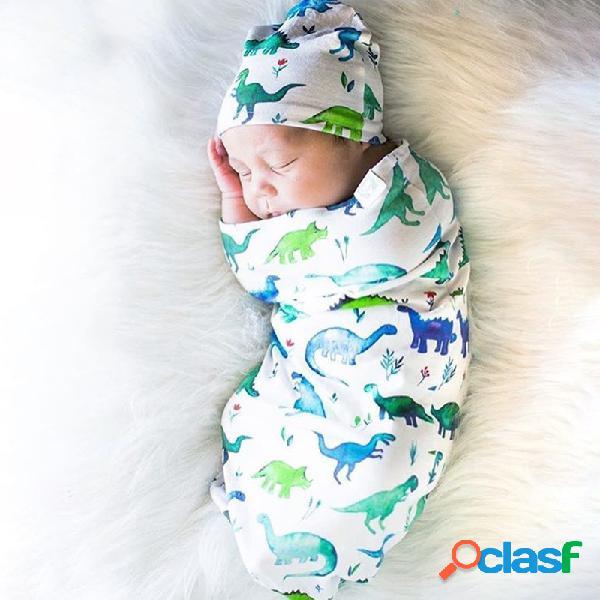 Impressão de saco de dormir de bebê de algodão sólido com chapéu definido para 0-12 meses