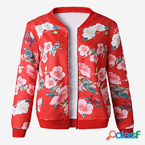 Jaqueta fina casual com estampa floral com zíper Fly