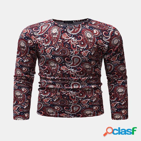 Mens caju flores impressão tripulação pescoço manga comprida slim fit casual t shirt