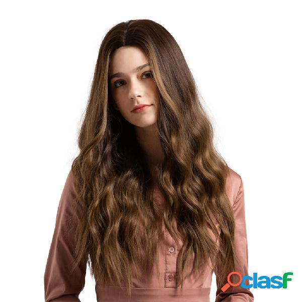 Perucas longas sintéticas onduladas naturais do cabelo de brown do inclinação das perucas para mulheres 26 polegadas