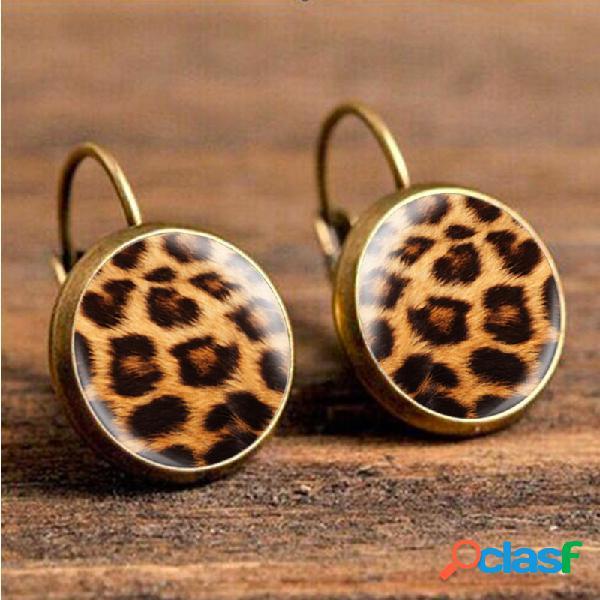 Retro leopard print brincos tempo jóia orelha gota brincos jóias étnicas para as mulheres