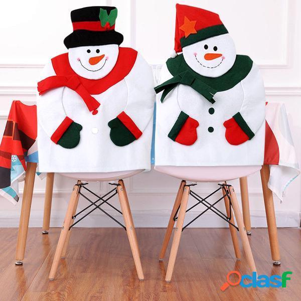 Boneco de neve do natal cadeira tampa traseira festival casa decorativa não-tecido macio tampa da cadeira