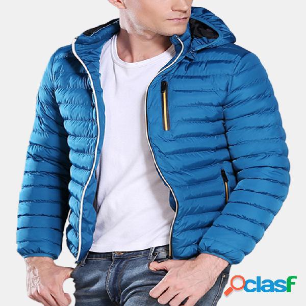 Casual para baixo casaco de cor sólida com capuz para baixo casacos parka