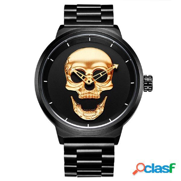 Homens do crânio da forma relógio relógio de quartzo estilo simples relógio de aço inoxidável à prova d'água