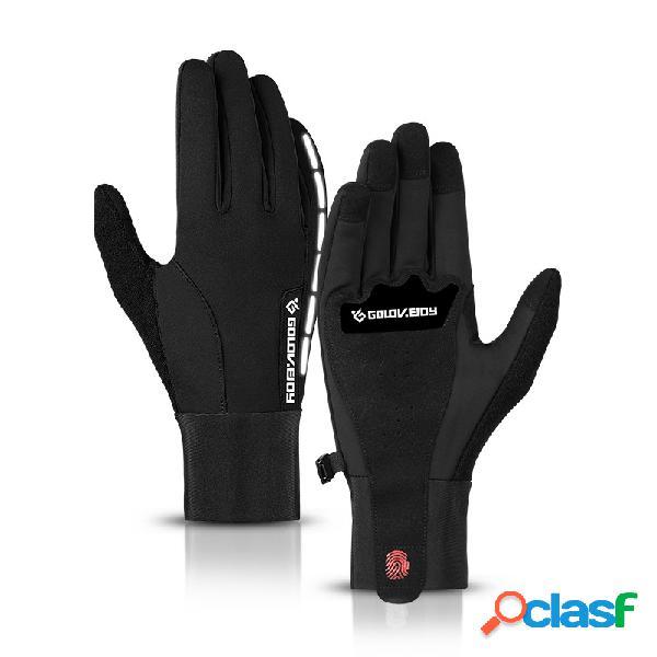 Homens inverno quente tela sensível ao toque à prova d 'água faixa reflexiva esqui ao ar livre condução luvas de dedo completo