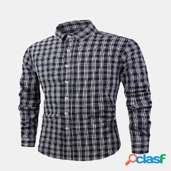 Mens casual business plaid single breasted manga comprida lavada camisa