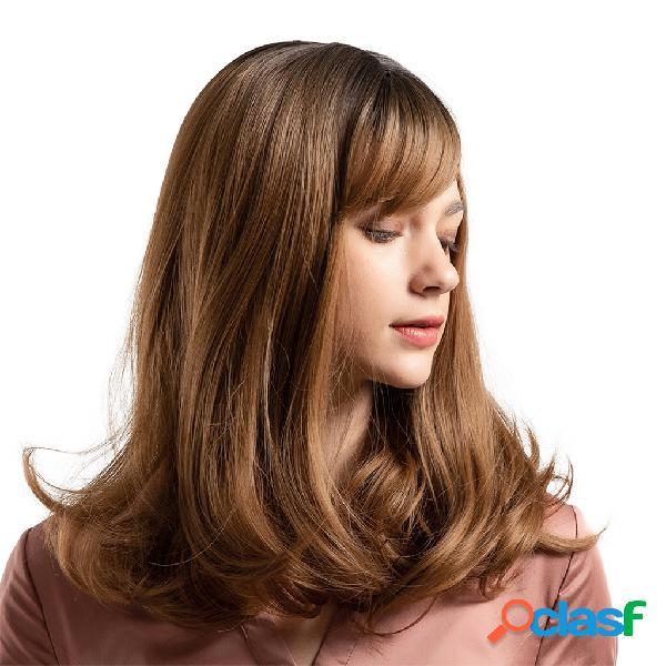 Perucas sintéticas com franja lateral moda preto gradiente marrom perucas para mulheres perucas longas encaracoladas 16 polegadas