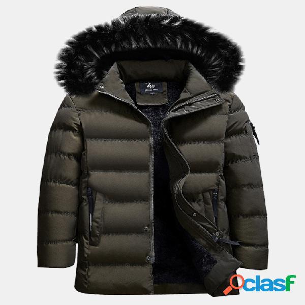 Plus tamanho dentro quente jaqueta de algodão furred casaco acolchoado com capuz isolado para homens